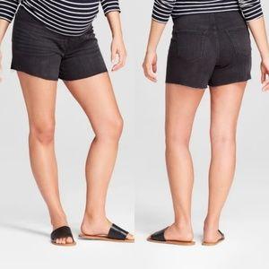 4/$25 Maternity Crossover Panel Midi Jean Shorts